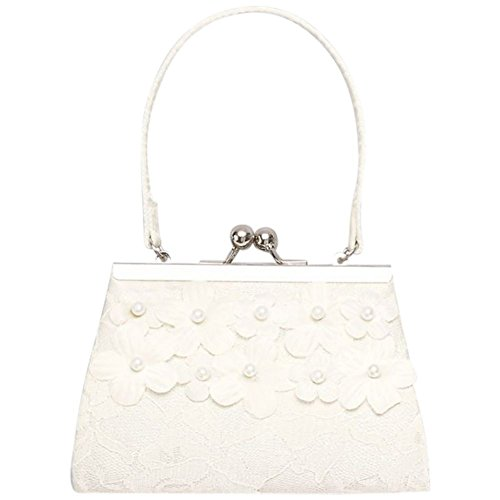 Girls Lace Purse with 3D Pearl Flowers Style WILLA, Ivory