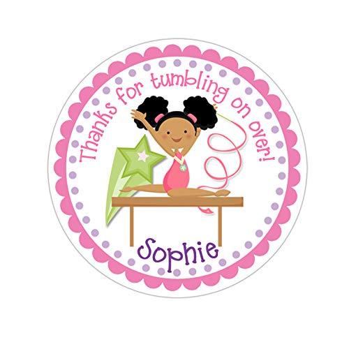 Yilooom Gymnast Stickers, Gymnastics Birthday Party, Gymnastics Party Stickers, Personalized Customized Birthday Party Favor Thank You Stickers, 4 Inch In Width - 2 Pcs