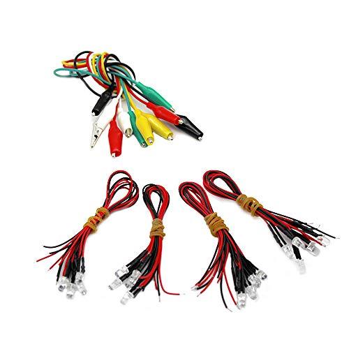WJUAN 20 Piezas LED de 5 mm con Cable de 20 cm, 12 Voltios DC/ Luz de Diodo, Adecuada para Efectos de Luz de Trabajo Hechos a Mano (Rojo, Amarillo, Azul, Blanco Cálido, 5 piezas Cada Uno)