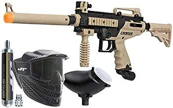 Tippmann Cronus Combat Powerpack .68Cal Paintball Kit Includes Raptor Goggle, 90G Co2 Tank, 200Rd Loader, Tan