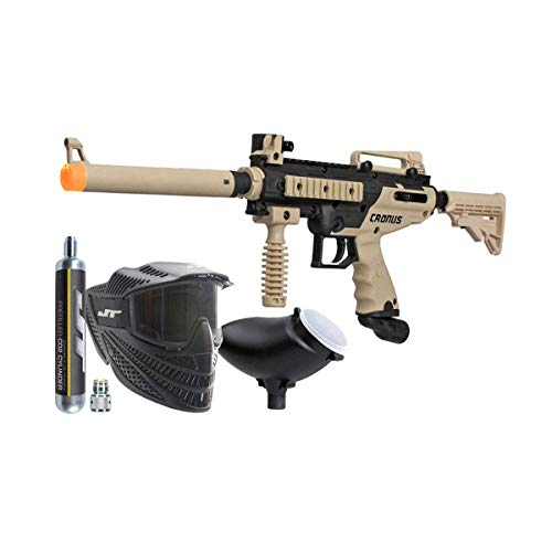 Tippmann Cronus Combat Powerpack .68Cal Paintball Kit Includes Raptor Goggle, 90G Co2 Tank, 200Rd Loader, Tan