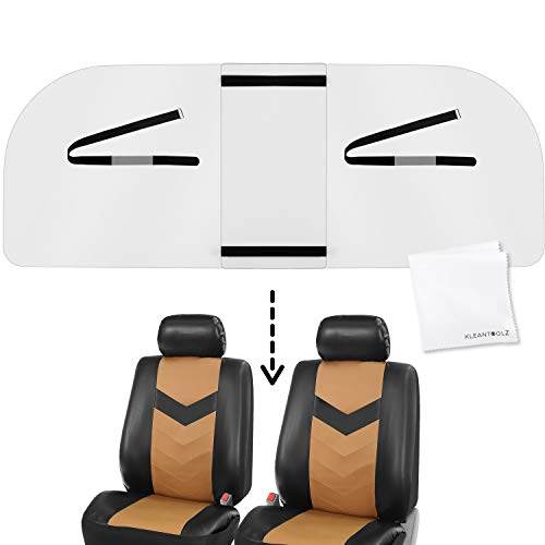 Kleantoolz Adjustable Plexiglass Car Sneeze Guard - Acrylic Isolation For Driver And Passengers - Rideshare Barrier Shield Featuring Deep Cleaning Microfiber Cloth