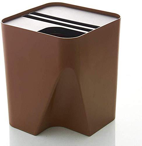 FHKBK Abfalleimer, quadratisch, herausnehmbar, Kunststoff, für Wohnzimmer, Badezimmer, Küche, Abfalleimer, Recycling-Mülleimer, Braun, 10 l/15 l (Farbe: C, Größe: Small), C, S