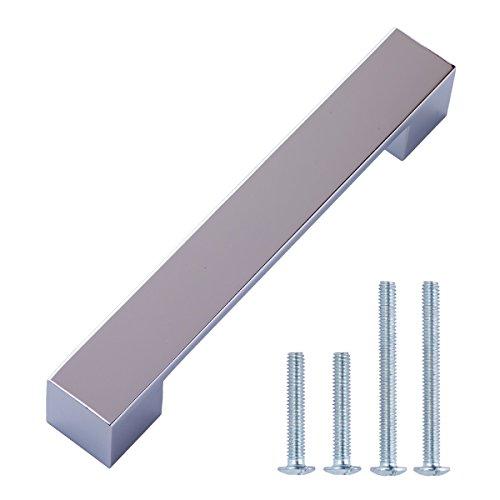 AmazonBasics - Tirador moderno y corto para armario, 16,2 cm de longitud (12,7 cm de centro del orificio), Cromo pulido, Paquete de 10
