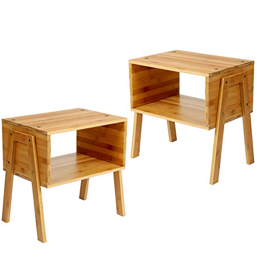 Mesita de noche Pipishell, mesita de noche de bambú con 1 compartimento abierto, mesita de noche moderna con patas de madera maciza para sala de estar, dormitorio, habitación infantil, juego de 2