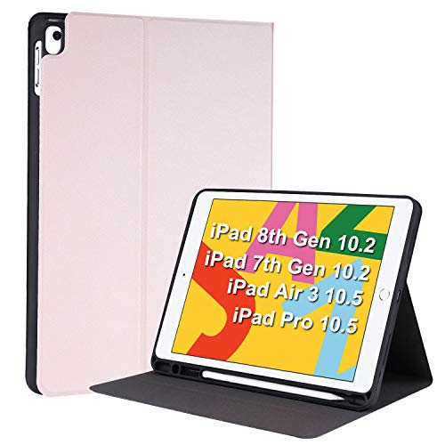 YMXuan Case for iPad 10.2 8th Gen 2020 /7th Gen 2019/ iPad Air 3 10.5(2019)/ iPad Pro 10.5(2017) with Pencil Holder, Multi-Angle Viewing Smart Stand Cover, Full body Protective, Auto Sleep/Wake (Pink)