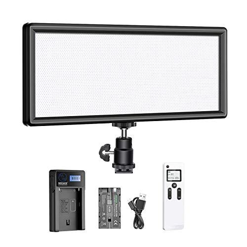Neewer Super Schlanke 2.4G T120 auf Kamera zweifarbige LED Videolicht mit LCD Display Li-Ionen Akku und USB Ladegerät weichere LED Beleuchtung für Porträts Kinder Produktfotografie und Video