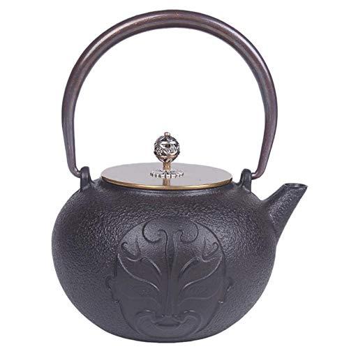 QINJLI Eisen Gesichts Gusseisen Teekanne Topf antiker Form japanische Gusseisen Wasserkocher Wasserkocher Tee Tee Teekanne Geschenk 1,2 L