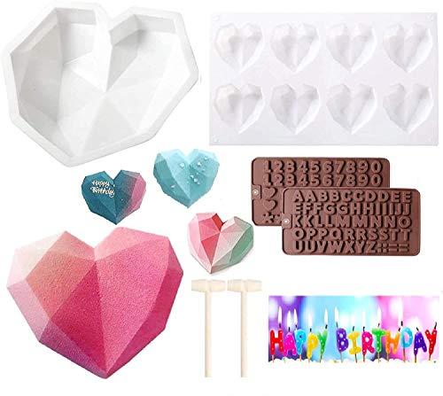 Diamant Herz Silikon Kuchenform (6 Stück Kit), Romantische Diamant Liebesform + Hohlräume Herzform Tablett + 2 Schokoladen Buchstabenform + 2 Holzhämmer, Ideal Kuchen DIY Kit