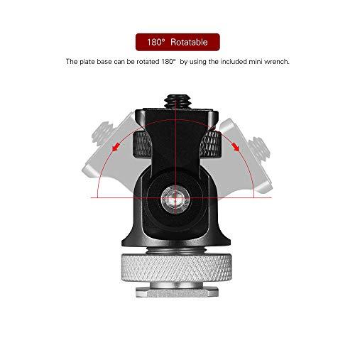 Andoer 180°Mini Kugelkopf Montageadapter Blitzschuh Calient 1/4 Zoll Schraube mit Schlüssel für DSLR Kamera Mikrofon LED Video Stativ Monitor Monopod (silberfarben)