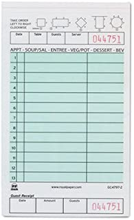 Royal Green Guest Check Board, Carbonless 2 Part Booked with 13 Lines, Package of 10 Books