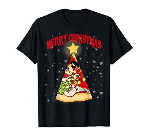 Pizza Árbol de Navidad Luces nieve Navidad Crustmas Regalo Camiseta