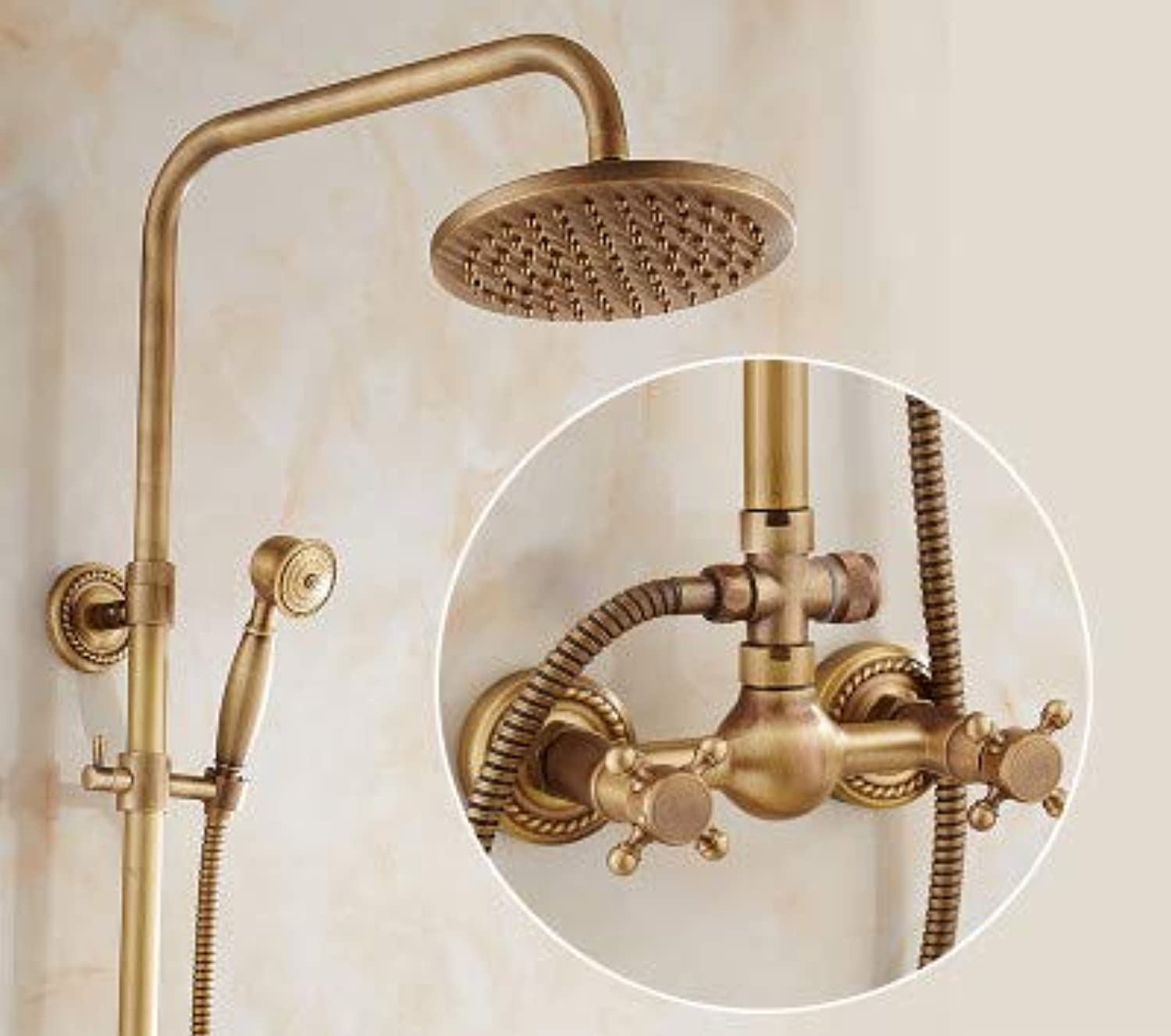 Hlluya Professional Sink Mixer Tap Kitchen Faucet Antique Shower Faucet Kit Full brass faucets bathroom rain shower sprinkler retro shower,A6