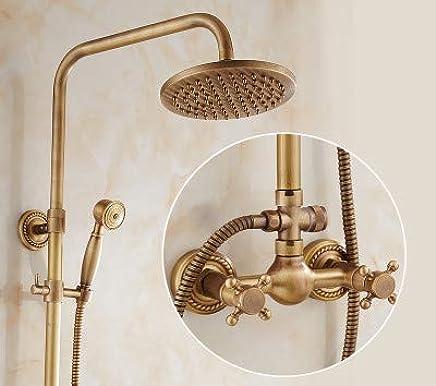 Hlluya Professional Sink Mixer Tap Kitchen Faucet Antique Shower Faucet Kit Full brass faucets bathroom rain shower sprinkler retro shower,A6