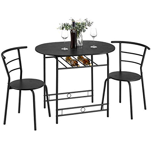 Kealive 3 Piece Kitchen Table Set Small Space Saving Dining Room Table Set for 2 Chairs with Metal Frame and Shelf Storage, Bistro Table Set Home Breakfast Compact for Apartment, Black