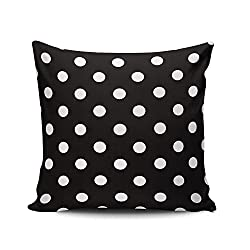Plush Black and White Polka Dot Pillow