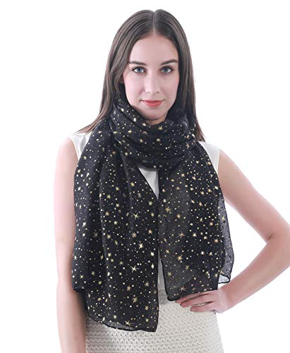 Lina & Lily Silver Gold Glitters Shimmer Foil Stars Women Scarf Shawl Wrap (Black (gold stars))