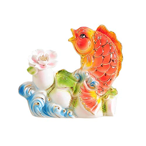 Feng Shui Decoration Ceramic Handmade Exquisite carp Statue Feng Shui Goldfish Decorations Living Room Office Crafts Ornaments New Year Gifts Lucky Decoration (Size : Medium)