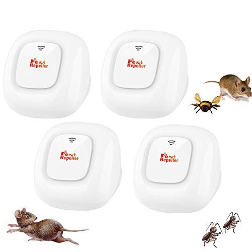MATEHOM Repelente Ultrasónico Mosquitos, Ahuyentador de Ratones 100% Seguro para Personas y Animales, para Ratones, pulgas, Mosquitos, cucarachas, Hormigas, arañas [4 Pack]