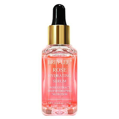 Rose Face Serum, BREYLEE Hydrating Serum Moisturizing Serum Face Serum Hydrating with Hyaluronic Acid Alcohol Free Facial Serum for Skin Care(17ml,0.6fl oz)