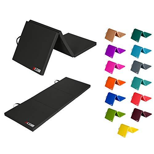 XN8 Weichbodenmatte klappbar Turnmatte | Yogamatte Klappmatte Fitnessmatte Gymnastikmatte rutschfeste Sportmatte (Schwarz)