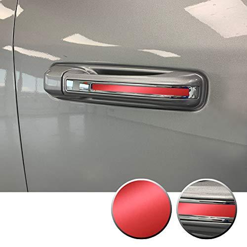 Optix Door Handle Chrome Delete Stripe Accent Vinyl Decal Overlay Wrap Compatible with Ram 1500 2019 2020 - Metallic Matte Chrome Red