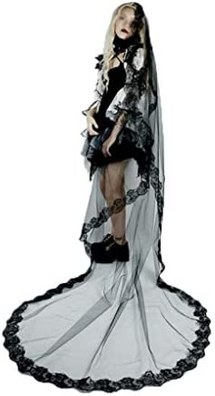 Halloween Black Lace Tulle Veill 1 Layer Long Wedding Veil Briadal Cathedral Veil The Day of product image