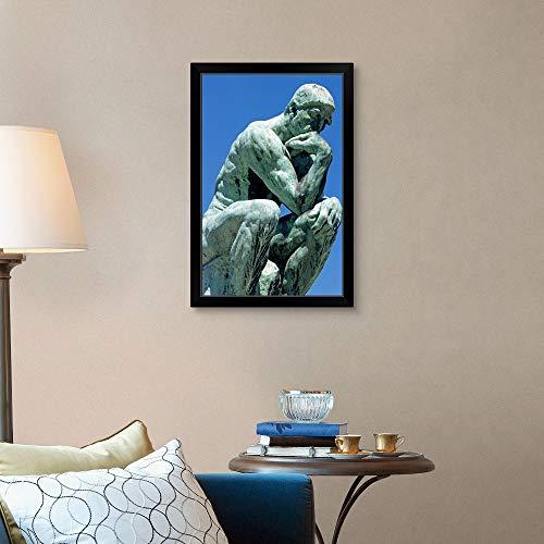 CANVAS ON DEMAND The Thinker, by Rodin, Musee Rodin, Black Framed Art Print, Paris Artwork