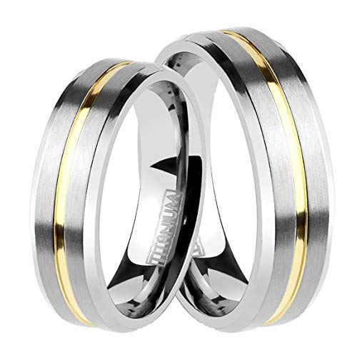 LaRaso & Co Wedding Set for Him and Her - Matching Titanium Rings His Size 11 Hers Size 6