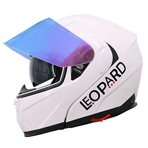 Leopard LEO-838 Doppelvisier Klapphelm Integralhelm + Extra Iridium Visier, 3 Weiß XS (53-54cm), Damen und Herren ECE Genehmigt