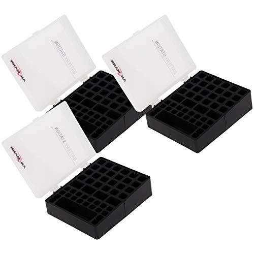 ANSMANN Batteriebox für AAA Micro, AA Mignon & 9V Block Akkus und Batterien - Praktische Akkubox zum Schutz & Transport für 48 Accus - Batterie Box & Akku Box zur Aufbewahrung - 3 Stück, schwarz