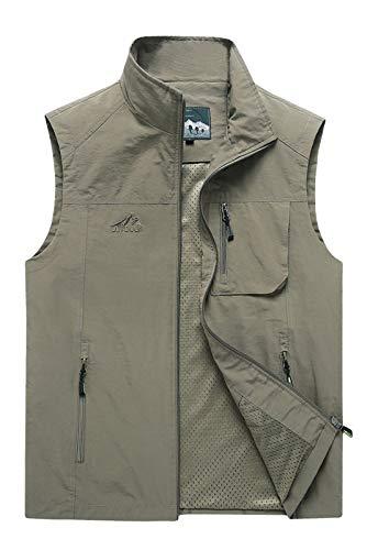 Flygo Mens Summer Lightweight Outdoor Work Fishing Photo Travel Hiking Vest Jacket with Pockets (X-Large, Khaki)
