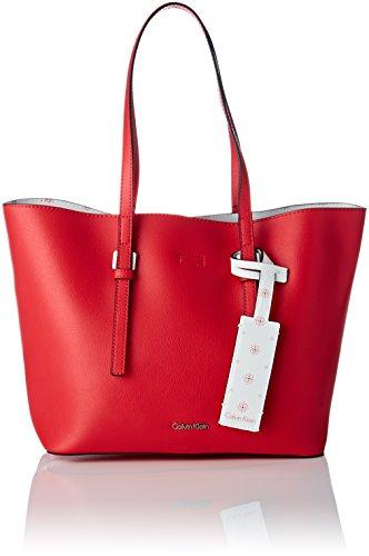Calvin Klein Damen Zone Medium Shopper Tote, Rot (Scarlet/Ck White), 14x25x41 cm