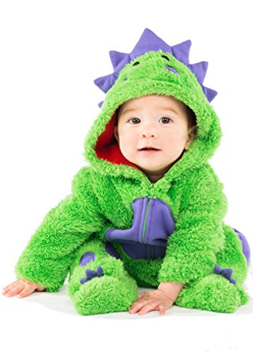 Funstuff Baby Boys' Plush Fleece Dinosaur Costume Coverall Footies