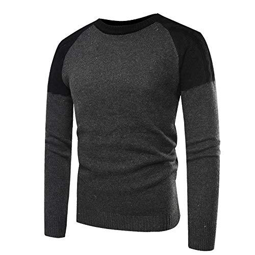 FRAUIT Mannen herfst winter pullover gebreide top patchwork mannen gebreide trui blouse mode met V-hals of ronde hals - Modern-Fit - hoogwaardige katoenmix - fijngebreide trui