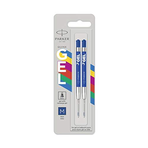 Parker Jotter Originals recharges pour stylo à encre gel | Recharges d'encre gel bleu | pointe moyenne (0,7mm) | lot de 2