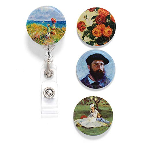 Buttonsmith Monet Self-Portrait Tinker Reel Retractable Badge Reel - with Alligator Clip and Extra-Long