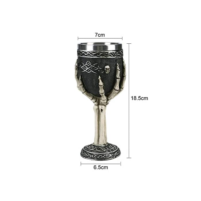 Horrible Resin Stainless Steel Skeletal Wine Goblet Skull Sacrifice Wine Chalice Cup Gothic Macabre Ossuary Halloween Decorative Accent Hosting Party Bar Whiskey Cocktail Beverage Drinking Glasses