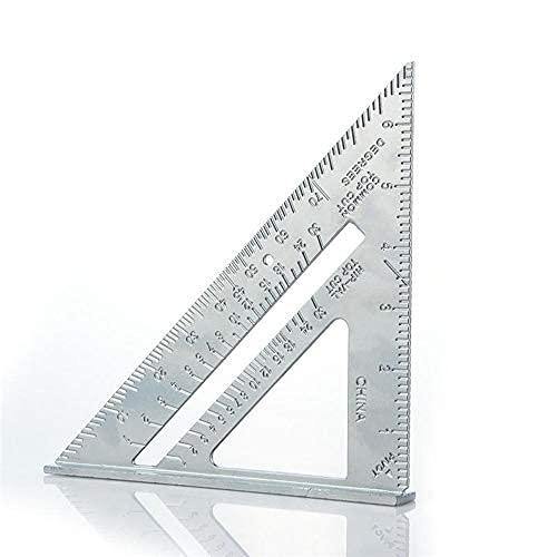 Regla de ángulo 7 pulgadas métrica de aleación de aluminio triangular regla de medición de carpintería velocidad cuadrada triángulo ángulo transportador