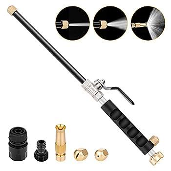 Hydro Jet High Pressure Power Washer Gun Pressure Power Hose Nozzle Washer 3 Nozzles Patio Sidewalk Car Window Cleaning Tool Black