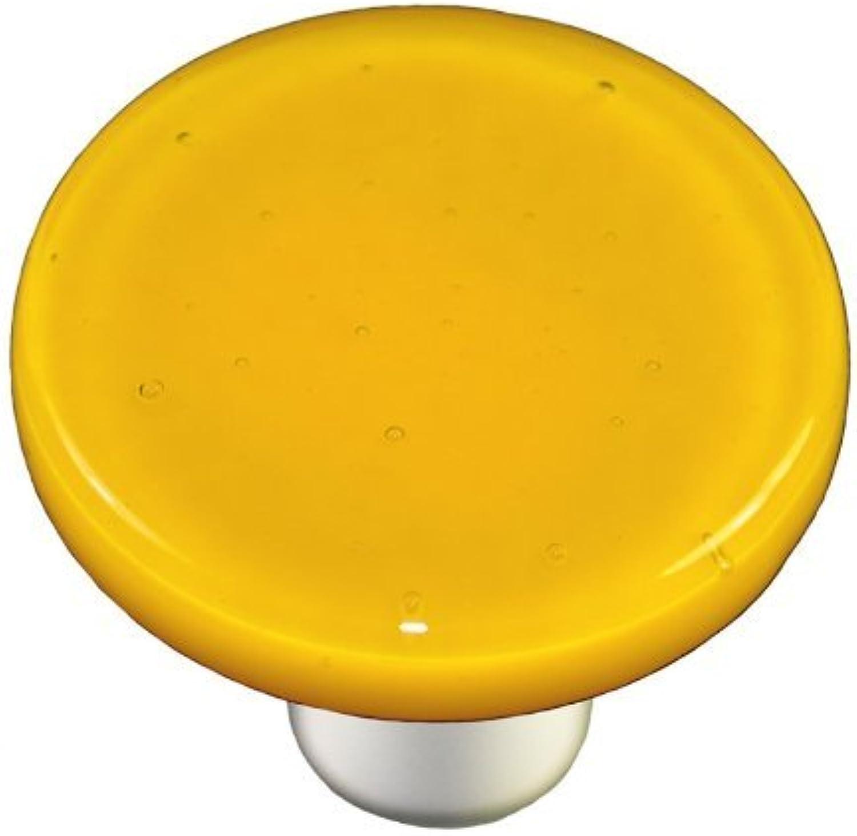 Hot Knobs HK1012-KRB Sunflower Yellow Round Glass Cabinet Knob - Black Post