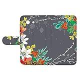 スマQ Xperia Z3 Compact SO-02G 国内生産 カード スマホケース 手帳型 SONY ソニー エクスペリア ゼットスリー コンパクト 【E.グレー】 花柄 ボタニカル 大人 ami_vc-531_sp