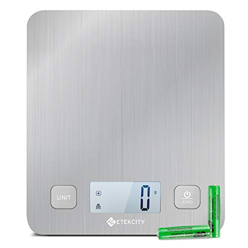 Etekcity Food Kitchen Scale, Gifts for Cooking, Baking, Meal Prep, Keto Diet and Weight Loss, Measuring in Grams and Ounces, Large, Stainless Steel