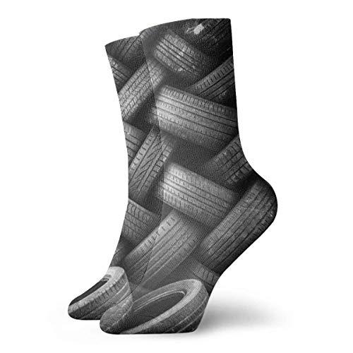 WH-CLA Neumáticos Viejos Mujeres Ocasionales Calcetines Divertidos Impresos Arte Calcetines, Calcetines De Colores De Moda Para Hombres 30Cm