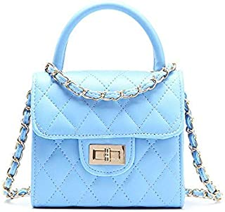 Pinky Family Fashion Kids Toddler Handbags PU Leather Crossbody Bags Gifts for Girls (Blue)