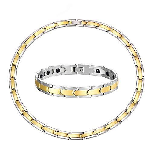 Preisvergleich Produktbild Tdgdd Mode Gesundheit Magnetic Armbandhalskettenart- Sätze,  Edelstahlarmband Gesundheit Magnetische Titan Magnetische Halskette