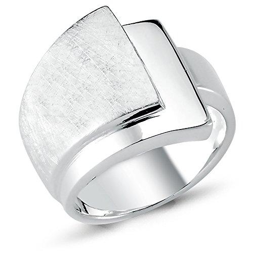 Vinani Ring Schichten Design 3 Ebenen gebürstet glänzend massiv breit Sterling Silber 925 Größe 52 (16.6) 2RSC52