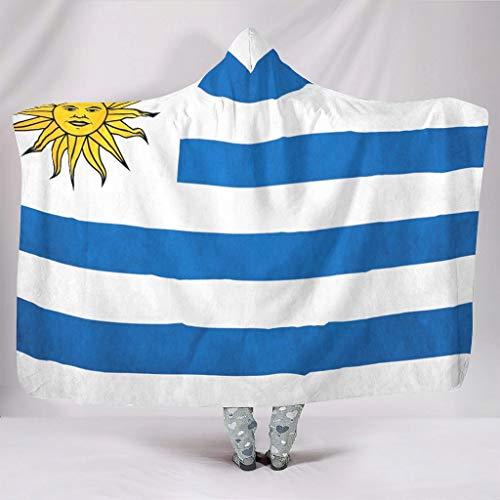 Manta supersuave con capucha con símbolo de la bandera Uruguay, forro polar cálido de invierno con capucha, color blanco, 130 x 150 cm