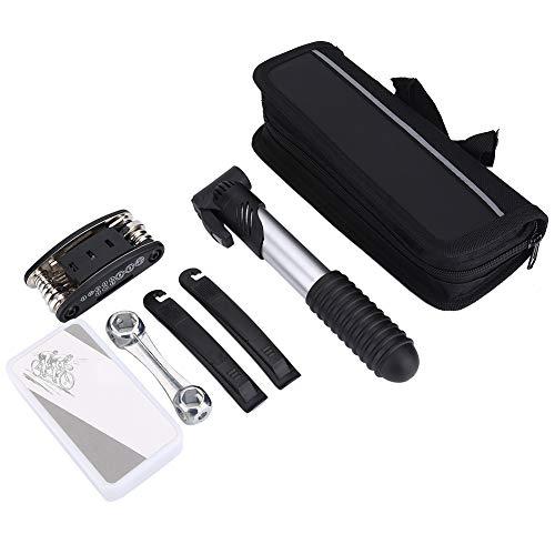 Kit de herramientas de ciclismo multifunción, llave de tubo hecha de nailon y metal y llave plana de parche de tubo interior de plástico (negro)