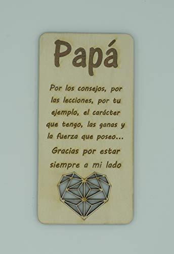 Tarjeta de felicitación para Papá realizada en madera. Cualquier ocasión es buena, Cumpleaños, Día del Padre o simplemente porque esa persona tan especial se merece un detalle. Tarjeta de cumpleaños